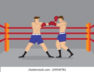 Vector cartoon illustration of two muscular bare-chested boxers wearing boxing gloves fighting in boxing ring.