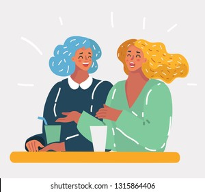 Vector cartoon illustration of two pretty girlfriends laughing while sitting in a bar outdoors - Students having pause and drinking cappuccino - Best friends talking and having fun.