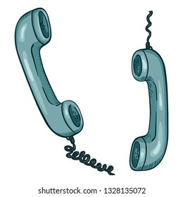 Vector Cartoon Illustration - Two Turquoise Telephone Handsets