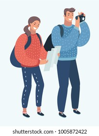 Vector cartoon illustration of two young tourists with backpacks, tourist map and camera. Sightseeing City. Funny human characters on isolated background.