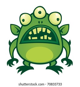 Vector cartoon illustration of an ugly green alien monster with three eyes.