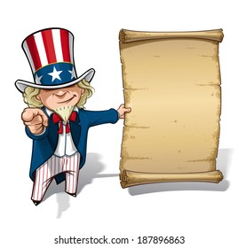"Vector Cartoon Illustration of Uncle Sam holding a declaration-like papyrus and pointing ""I want you"" like the classic WWI poster"