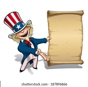 Vector Cartoon Illustration of Uncle Sam presenting a declaration-like papyrus.