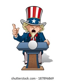 Vector Cartoon Illustration of Uncle Sam on the podium, giving a speech with intense expression.