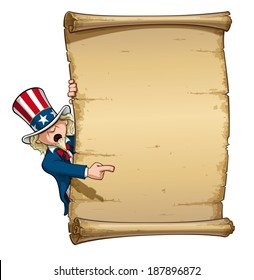 Vector Cartoon Illustration of Uncle Sam Pointing at a declaration-like papyrus.