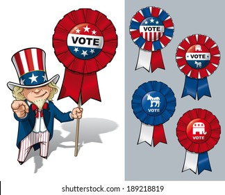 Vector Cartoon Illustration of Uncle Sam holding a Vote ribbon - banner - badge. All options are in-place neatly in well described groups and layers