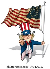 """Vector Cartoon Illustration of Uncle Sam holding a Betsy Ross American flag, pointing """"I want you"""". Flag's texture and sepia color can be removed by turning the respective layers off."""