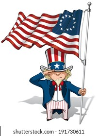 Vector Cartoon Illustration of Uncle Sam saluting and holding a Betsy Ross American flag.