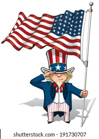 Vector Cartoon Illustration of Uncle Sam saluting and holding a 48 star American flag. This was the US Flag during both World Wars and the Korean war