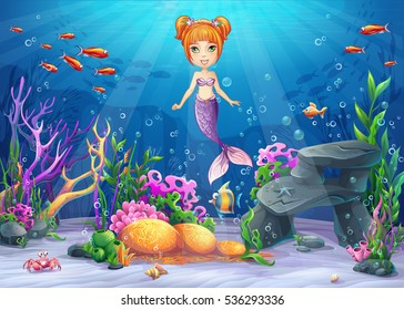 Vector cartoon illustration underwater world with funny character mermaid surrounded coral, reef, rock, fish, crab, shell