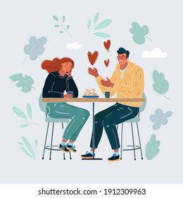 Vector cartoon illustration of Unrequited love. Non-reciprocal feelings, bad date