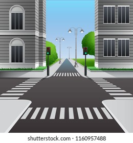 Vector cartoon illustration of urban city crossroads with street road traffic lights and street crosswalk with town buildings, perspective view