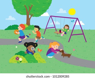 Vector cartoon illustration of various children playing in the park
