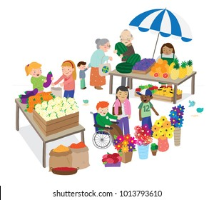 Vector cartoon illustration of various people in marketplace buying fruit and produce isolated against white background