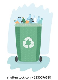 Vector cartoon illustration of Waste management concept segregation. Separation of waste on garbage cans. Sorting for recycling. Green waste bins with trash.