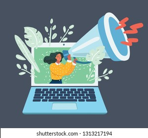 Vector cartoon illustration of Web advertising and spam concept with woman and megaphone