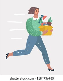 Vector cartoon illustration of Welcome to the new job business concept. Boss offering a new office to employee. Successful smiling young woman runs hastily for new job. Start and time to promotion.