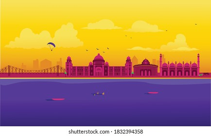 Vector cartoon illustration of the West Bengal skyline. Isolated on a colored background.