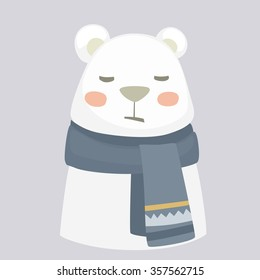 Vector cartoon illustration. White cute bear wearing a warm scarf. Feeling bad, sad and illness
