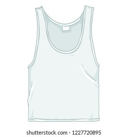 Vector Cartoon Illustration - White Underwear Singlet