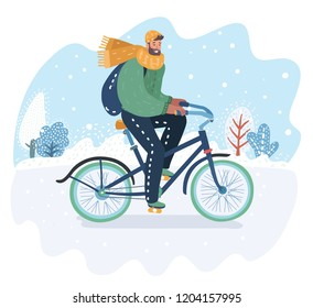 Vector cartoon illustration of winter landscape with bicycle rider. Snowy background.