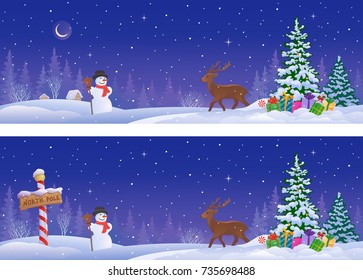Vector cartoon illustration of winter landscapes with a North Pole sign, a reindeer and a Christmas tree, panoramic banners