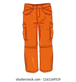 Vector Cartoon Illustration - Winter Orange Hiking Trousers