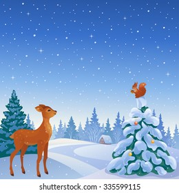Vector cartoon illustration of a winter scene with cute reindeer and squirrel in woodland