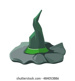 vector cartoon illustration of witch hat with green ribbon. Picture isolate on white background.