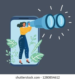 Vector cartoon illustration of woman with Binoculars. Spy and data collection, research. Character look out display smartphone. Human female character on dark bakcground.