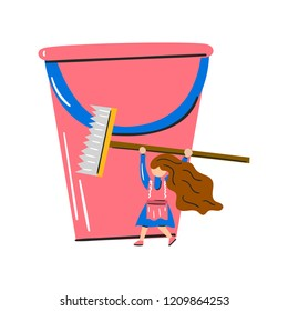 Vector cartoon illustration with woman, bucket and cleaning brush. Housework concept. Housecleaning service. Interior care icon. Woman with mop home activity