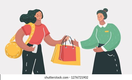 Vector cartoon illustration of woman doing shopping hold purchases. Concept of paying and getting goods on white. Smiling woman carrying packages and boxes with items and products.