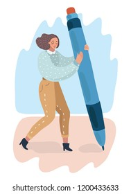Vector cartoon illustration of woman holding big pencil and drawing or write.