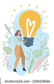 Vector cartoon illustration of Woman holding big giant light bulb banner looking happy excited. Woman having an idea or solution. Human modern characters.