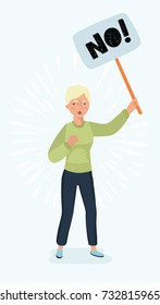 Vector cartoon illustration of woman holding in hand picket sign. Feminist struggle for rights concept for banners