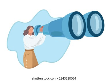 Vector cartoon illustration of Woman looks through big giant binocular. Looking and researching concept. Humna chararcthe on white bakcground.