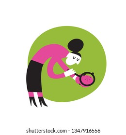 Vector cartoon illustration of woman with loupe reserching apple attentively. Healthy eating obsession concept
