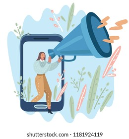 Vector cartoon illustration of woman with a megaphone. Woman walk out of screen of phone.