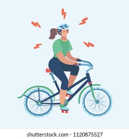 Vector cartoon illustration of Woman on bicycle. Female On Exercise Bike In Gym. Annoyed Girl hard Training. Try to lose weight or join to sport culture. Isolated on white Cartoon Character.