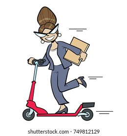 vector cartoon illustration of a woman in pant suit riding a scooter