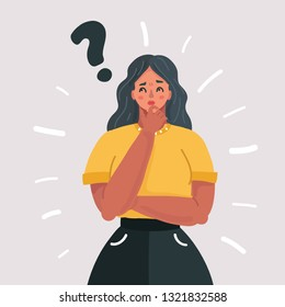Vector cartoon illustration of woman and question mark. Pensive woman on white background.