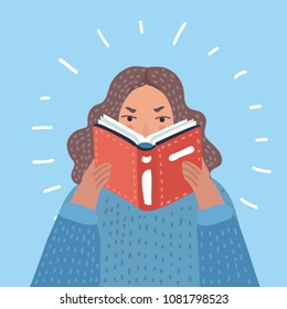 Vector cartoon illustration of woman reading textbook