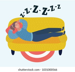 Vector cartoon illustration of woman sleep on sofa in room. Dreaming girl. Snoring, snoring during sleeping. Female characters in white isolated background.