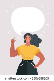 Vector cartoon illustration of Cartoon woman with speech bubble for your text. Index finger up. Smiling character on white background.