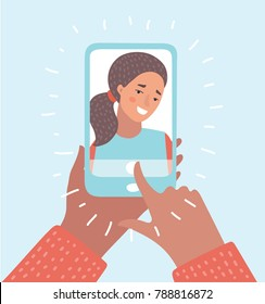 Vector cartoon illustration of woman taking selfie photo on smartphone. Smartphone in girls hands. Character on isolated background.