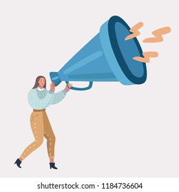 Vector cartoon illustration of woman talking into big megaphone. Giant loudspeaker in her hands. Human character on white background.