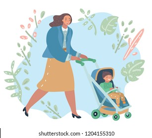 Vector cartoon illustration of the woman walk with baby carriage with baby boy. Mother an her son outdoor.