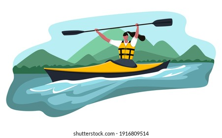 Vector cartoon illustration woman who won kayak competition. She lifted paddle up. Concept water sports, kayaking, activity, rafting, canoe.
