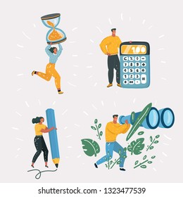 Vector cartoon illustration of women different profession. Tiny People with big calculator, binocular, pencil, hoursglasess.