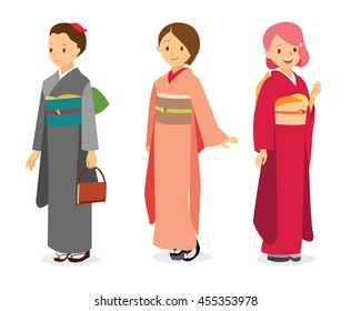 Vector cartoon illustration women in Japanese traditional costume Kimono (yukata). Can be used for kindergarten education, elementary education, culture documentary videos, cartoon, dress up games